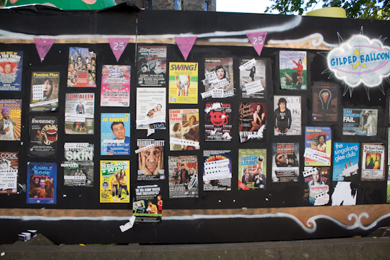 Posters outside Gilded Balloon Venue