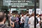 Protestors banging on doors at Bridgewater Hall.